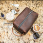 Durable leather toiletry case