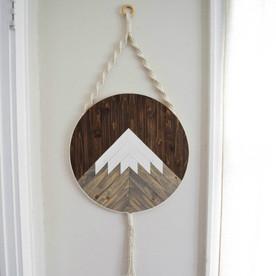 Mt. Shasta - Round Macrame Wood Wall Art Hanging