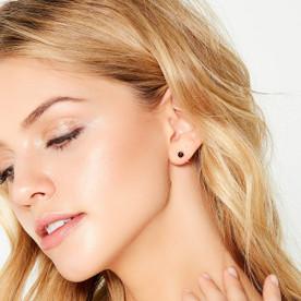 Obsidian Huggie Earrings