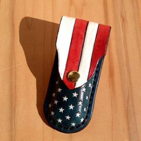 American Flag Leather Pocket Knife Holster