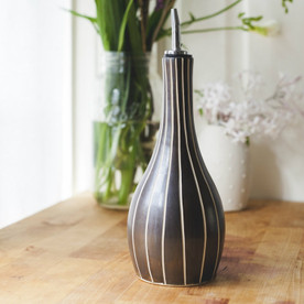 Ceramic Black Stripe Oil Bottle