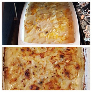 Scalloped potatoes. A dish that will round out any comfort protein on the smoker.
