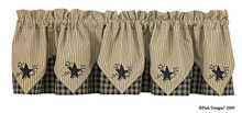 "Sturbridge Star Black Lined Point Valance 72"" x 15"""