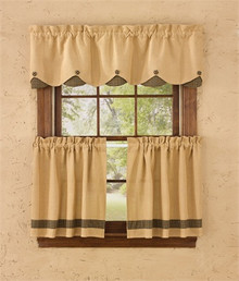 "Burlap & Check Black Lined Scalloped Valance- 58""x14""- Park Designs"
