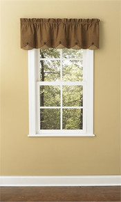 "Lined Scalloped Valance-58""x15""-Shades of Brown-Park Designs"