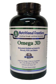"Omega 3D is a dietary supplement to support cardiovascular function and skin and hair health.  OMEGA 3D is a blend of non-GMO natural oils from Fish that combines the health benefits of Omega 3 and sufficient levels of Vitamin D3 in order to sustain healthy Vitamin D3 levels in your body. It is a comprehensive ""multi"" fatty acid supplement that is rich in EPA, DHA and Vitamin D3.  It provides a healthy balance of essential fatty acids that are critical to total body health. These fatty acids play a vital role in the structure of cell membranes, healthy hair and skin, and support cardiovascular, nerve, neurological and immune system functions.  It also provides the desirable ratio of Omega 3 to Vitamin D3 for more efficient and beneficial prostaglandin production.  Recommended for: - Cardiovascular health - Hair and skin health - Support of blood pressure within normal ranges vascular integrity and cardiovascular health - Healthy nervous system and organ function - Joint and bone health and comfort - Gastrointestinal, respiratory, and immune system health - Support of hormone balance within normal ranges  Omega 3D is a rich source of Omega-3, including Eicosapentaenoic Acid (EPA) and Docosahexaenoic Acid (DHA), combined with D3.  Independently third party tested for mercury, PCB, and dioxins.  Daily supplementation with EPA, DHA and D3 is the best way to ensure that you receive the health protecting benefits of fatty acids and D3."