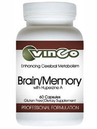 Brain/Memory with Hyperzine A 60 caps Dietary Supplement Professional Formulation Enhancing Cerebral Metabolism The ingredients in Vinco's Brain/Memory have been shown to be beneficial in promoting a healthy management of cognition and memory recall Directions for Use: As a dietary supplement for adults and children twelve or more years of age, take one to three capsules per day, or as directed by a qualified healthcare professional. Supplement Facts: Serving Size: 2 Capsules Servings per Container: 30 Acetyl-L-carnitine 350 mg  Phosphatide Complex 500 mg  24% phosphatidylcholine 20% phosphatidylethanolamine 14% phosphatidylinositol Bacopa monniera Extract 150 mg  20% Bacosides A&B Vinpocetine 5 mg † Huperzine A (from Huperzia serrata extr.) 100 mcg † Gluten Free These statements have not been evaluated by the FDA.  This product is not intended to diagnose, treat, cure or prevent any disease. KEEP OUT OF REACH OF CHILDREN Tamper resistant. Do not purchase if seal is broken. Store in a cool, dry place