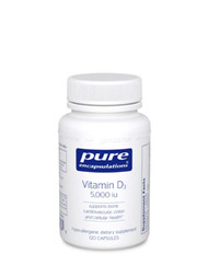 Aside from supporting bone health, Pure Encapsulations Vitamin D3 may also provide cardiovascular support by increasing calcium metabolism. It also supports healthy cellular function including immune cell activity and cell metabolism.  Vitamin D3 enhances calcium absorption and retention, a key nutritional role in supporting healthy bones, and may play a potential role in cardiovascular, colon and cellular health. Vitamin D levels have been shown to decline with age, due primarily to a reduction in either absorption or metabolism by the liver. Decreased exposure to sunlight, a vegetarian diet, or a low intake of vitamin D fortified foods also play a role in inadequate vitamin D levels.  Bone Health: Vitamin D promotes intestinal calcium and phosphorous absorption and reduces urinary calcium loss, essential mechanisms for maintaining proper calcium levels in the body and for healthy bone composition. Clinical studies involving vitamin D supplementation suggest the importance of vitamin D in addition to calcium for bone health. Vitamin D supplementation alone may also support bone health.  Cardiovascular Support: Vitamin D may also provide cardiovascular support for some individuals, which may be attributed to its effect on calcium metabolism or possibly by helping to maintain healthy plasma renin function.  Cellular Health: Studies suggest vitamin D supports colon health by promoting healthy cellular function. Vitamin D is also believed to provide general cellular support potential, including breast and prostate cells, in part by helping to maintain healthy angiogenesis balance, supporting immune cell activity and maintaining healthy cell metabolism. Preliminary evidence suggests that vitamin D may also play a role in maintaining healthy glucose metabolism, since vitamin D receptors are present on the islet cells of the pancreas.    Supplement Facts  Serving Size: 1 capsule  Servings Per Container: 120  Amount Per Serving  Vitamin D3  5,000 IU  Other Ingredients: hyp
