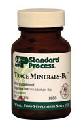 Trace Minerals-B12 combines important nutrients to support enzymatic reactions in the body.  Spectrum of minerals that support a healthy body Provides essential cofactors for healthy cell functioning Provides iodine, which is required for healthy thyroid, spleen, and red blood cell functions Among other functions, these trace minerals support ligament, cartilage, and bone structure; immune system and thyroid function; fat metabolism; and calcium utilization*
