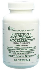 Nutrition & Antioxidant Accelerator is in a class of its own as a general nutrition and antioxidant product. Although this was designed with the nutrient needs of those with genetic defects, this is an excellent base nutritional product for anyone. This supplement supplies food based nutrition, and unprecedented support for the production of the antioxidants catalase and superoxide dismutase.