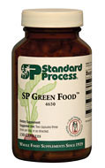 SP Green Food provides a simple way to supplement the diet. Promotes healthy liver function Provides antioxidant activity Supports overall cellular health Supports cholesterol metabolism, to help maintain cholesterol levels already within a normal range Supports the body's normal toxin-elimination function Can be used as nutritional support in the Standard Process Purification Program* Synergistic Product Support  Catalyn Tuna Omega-3 Oil Calamari Omega-3 Liquid Cellular Vitality Trace Minerals-B12 OPC Synergy