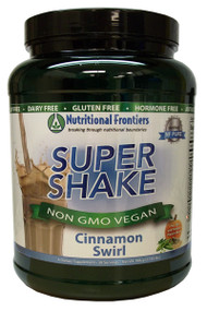 A hypoallergenic, vegetarian, low carbohydrate meal replacement powder suitable for those with food allergies and food sensitivities.  Super Shake provides a low carbohydrate meal replacement option that is free from the most common food allergens, including gluten, dairy, and soy. Many protein powders on the market contain common food allergens, making those shakes unsuitable for sensitive individuals.  Super Shake features pea, rice, and pumpkin as its protein sources, providing a delicious alternative for people on a variety of food programs including weight management, detoxification, low carbohydrate, diabetes, food allergies, or those simply looking to add shakes to their daily routine.  Super Shake can be mixed easily with water, coconut, rice or almond milk, and juice. Super Shake may be added to a blender with fresh or frozen fruit, coconut, rice or almond milk, ice, nut butter, and/or for extra nutritional value, one of Nutritional Frontiers' Pro Colors powders such as Pro Lean Greens, Pro Oranges, Pro Purples, or Pro Reds.  About the Ingredients  Protein Blend includes pea, rice, and pumpkin proteins. These vegetable protein sources provide amino acids required by the body for people who are vegetarians, have food allergies or sensitivities, or who are looking for a hypoallergenic meal replacement. These essential amino acids must be obtained through diet; the human body does not synthesize them.  Fibersol-2™ is a soluble fiber comprised of a digestion-resistant maltodextrin. Fiber serves many purposes, including binding toxins in the intestines to aid in detoxification, helping glucose and lipid control, and supporting proper bowel function, regularity, fecal volume, and beneficial intestinal micro flora. What makes Fibersol®-2 unique is that it is soluble and less dense than other fibers and does not cause bloating or intestinal gas. Fibersol®-2 is well tolerated and results in favorable fermentation in the large bowel and assists in production of short