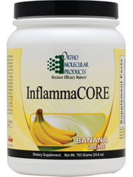 InflammaCore by Ortho Molecular Products  701 grams (24.98 oz) powder (Banana Creme flavor)  Inflammation is a natural part of the body's immune response, a cascade triggered to protect the body and maintain normal tissue repair. Because inflammation plays a role in so many health challenges, it is essential to support and maintain a healthy cycle of inflammation to achieve optimal health.  InflammaCORE is an advanced nutritional formula built to address immune challenges, maintain a healthy inflammatory response and strengthen gastrointestinal barrier function. It represents an innovative,multidimensional approach to providing powerful phytonutrients that support proper inflammatory control and overall gastrointestinal health. InflammaCORE is an all-natural, fructose-free formula featuring 19 g of easy-to-digest organic brown rice protein and 4 g of flax-based fiber per serving. In addition, InflammaCORE provides high amounts of L-glutamine and glycine, amino acids crucial for intestinal reinforcement and mucosal cell regeneration.