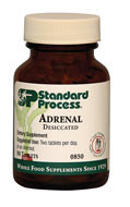 Adrenal Desiccated by Standard Process  90 tablets  Adrenal Desiccated supports endocrine health. The adrenal glands are important in the body's natural response to stress and energy metabolism.*  Provides powerful short-term adrenal support for immediate energy needs Supports immune system function during times of increased demand