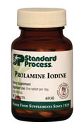 Prolamine Iodine by Standard Process  90 Tablets  Prolamine Iodine supports healthy iodine levels. Supports healthy thyroid function Designed for short-term use to support serum iodine levels One of three Standard Process iodine products; contains the most iodine in comparison with Trace Minerals-B12 and Iodomere* Synergistic Pr oduct Support Symplex F or Symplex M Thytrophin PMG