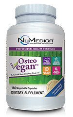 ● Contains a certified organic whole food calcium complex with over 70 trace minerals and phytonutrients*      ● Plant based calcium providing superior bone health support*      ● A whole food with less potential for arterial plaque than non-food calcium sources *      ● All vegan, high quality ingredients, including the only vitamin D3 on the market sourced from plants*      ● All natural, trans-K2 as MK7 to support osteocalcin, a calcium binding protein*      ● Patented Albion® magnesium chelate and di-magnesium malate*      ● Activated B vitamins including Quatrefolic® 5-MTHF to aid in reduction of homocysteine levels*      ● Includes vitamin C, silica, boron and phosphorus for bone support*      ● Enhanced Absorption Technology™ with AstraGin® and BioPerine® shown increase vitamin absorption by up to 50.4%*   Osteo Vegan™ is an advanced, professional grade, plant-sourced calcium and bone support formula exclusively available through healthcare professionals.* The highly specialized plant calcium in Osteo Vegan™ is micronized to ensure optimal absorption by delivering the perfect particle size.* It is a certified organic whole food with over 70 naturally occurring trace minerals and phytonutrients. Since the calcium in this formula is an all-natural, GRAS certified, plant-derived whole food, it does not have the potential negative effects on arterial calcification that non-food based calcium supplements have.* Additionally, NuMedica® has selected a proprietary, clinically effective plant-derived form of D3, instead of the most common source, lanolin (sheep's wool).* D3 is essential for bone health and intestinal calcium absorption.* Osteo Vegan™ includes an all trans-natural, patented form of K2 as MK7 to support the body's ability to utilize calcium in the bloodstream.* Patented Albion® magnesium is included for its superior absorption compared to other forms such as magnesium carbonate.* This formula contains a broad spectrum of other bone-supporting nutrients and utilizes a proprietary blend of AstraGin® and BioPerine® the latest in Enhanced Absorption Technology, for maximum effectiveness.* For best results, use with NuMedica's OsteoV SC, an essential bone support formula.*