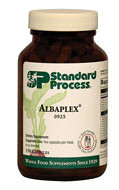 Albaplex supports kidney function.  Supports the body's natural immune system response function Encourages healthy liver function Contains a combination of key ingredients from Betacol, Renatrophin PMG, Arginex, Cataplex A-C, and Thymex  What is Albaplex?  Albaplex is a kidney support supplement combining an array of whole food ingredients and targeted synthetic vitamins. Vitamin A, vitamin C, and the B vitamins niacin and pyridoxine are complemented by complex nutrition in the form of key ingredients like dried kidney bean juice, bovine liver PMG™ extract, and nutritional yeast. This combination of targeted and whole food ingredients supports the body's detoxification and elimination functions as well as the body's natural immune system response function.*