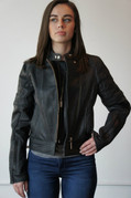Ladies Black Leather Riding Jacket - Large