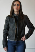 Ladies Black Leather Riding Jacket - Extra Large