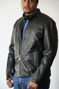 Men's Black Leather Riding Jacket - Medium
