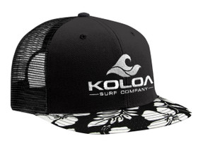 Black cap with black and white Hawaiian bill and embroidered white logo