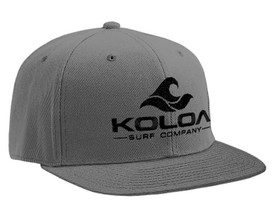 Koloa Surf Dark Grey Solid Snapback Hat with Black Embroidered Logo