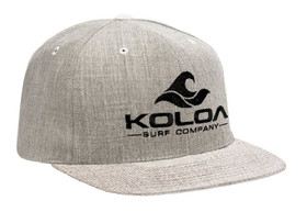Koloa Surf Heather Grey Solid Snapback Hat with Black Embroidered Logo