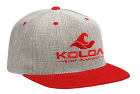 Koloa Surf Red/Heather Grey Solid Snapback Hat with Red Embroidered Logo