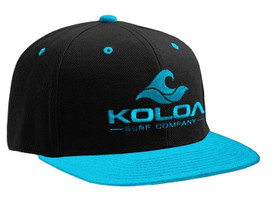 Koloa Surf Teal/Black Solid Snapback Hat with Teal Embroidered Logo