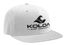 Koloa Surf White Solid Snapback Hat with Black Embroidered Logo