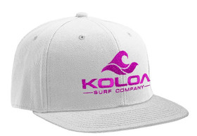 Koloa Surf White Solid Snapback Hat with Pink Embroidered Logo