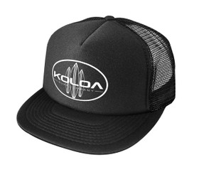 Koloa Surf Classic Surfboards Poly Foam High Profile Trucker Hats- Black/w