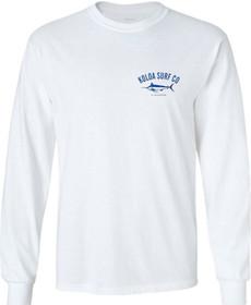 Koloa Surf Co. Blue Marlin Long Sleeve White Cotton T-Shirt. Regular, Big & Tall