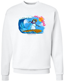 Koloa Surf Surfing Snowman White Crewneck Sweatshirt. Regular, Big & Tall