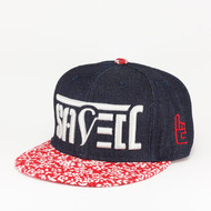 SAVED Ambigram Snapback (floret - dark denim) white