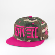 SAVED Ambigram Snapback (black-woodland camo) pink