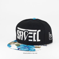 SAVED Ambigram Snapback (Blue hibiscus - Black)