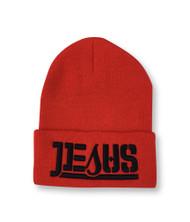 JESUS Ambigram Cuff Beanie - Red (blk letter)