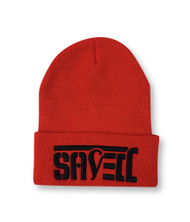 SAVED Ambigram Cuff Beanie - Red (blk letter)