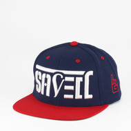 SAVED Ambigram Snapback (Classic NAVY & Red) Brave