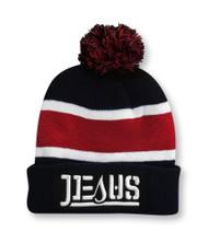 Jesus - Pom Pom Beanie - black (garnet stripes)