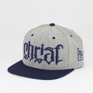 Christ Ambigram Snapback - Navy & Heather Gray (Exodus)