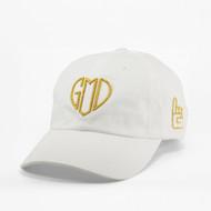 GOD IS LOVE Dad Hat - White - Gold Metallic