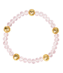 Riley Bracelet - Czech Pink & Gold