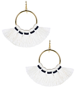 Izzy Gameday Earrings - White with Navy Trim