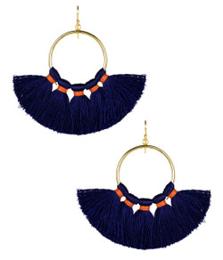 Izzy Gameday Earrings - Navy with Orange Trim