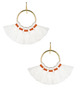 Izzy Gameday Earrings - White with Orange Trim