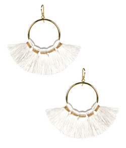 Izzy Gameday Earrings - White with Latte Trim