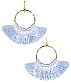 Izzy Gameday Earrings - Carolina Blue with White Trim