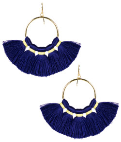 Izzy Gameday Earrings - Navy with Yellow Trim